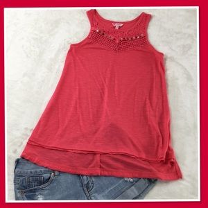 CANDIES TANGERINE TANK TOP WITH LACE DETAILING XS